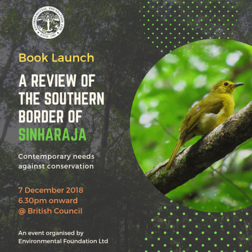 Book Launch- A Review of the Southern Border of Sinharaja